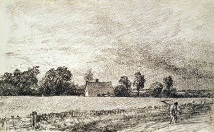 Cottage and Road, by John Constable