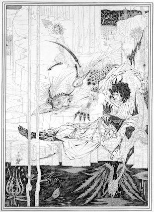 How King Arthur saw the Questing Beast, by Aubrey Beardsley
