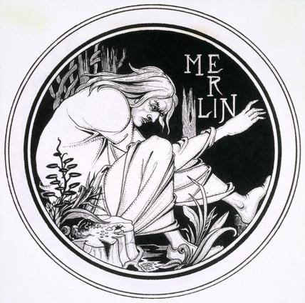 Merlin by F. Evans, after Aubrey Beardsley