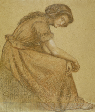 A girl holding her knees, by Dante Gabriel Rossetti