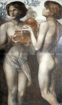 Study of the two attendant youths in La Bella Mano, by Dante Gabriel Rossetti