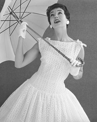 Eyelit day dress with umbrella