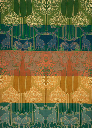 Stags & Swans in a Landscape hanging, by C.F.A.Voysey