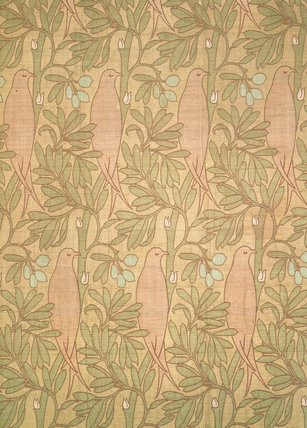 Purple Bird furnishing fabric, by C.F.A.Voysey