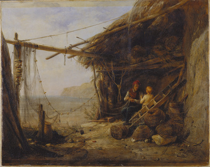 Mending The Bait Nets, Shanklin, by Edward William Cooke