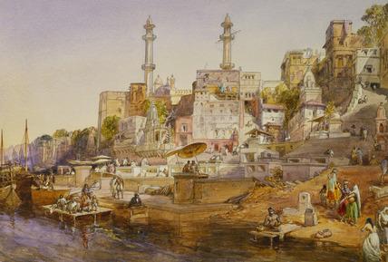 Mosque Ghat, Benares, by William Simpson