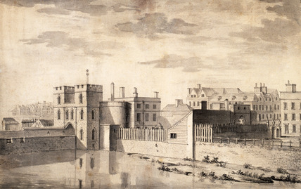 Prospect of the Entrance of the Tower of London, by Paul Sandby