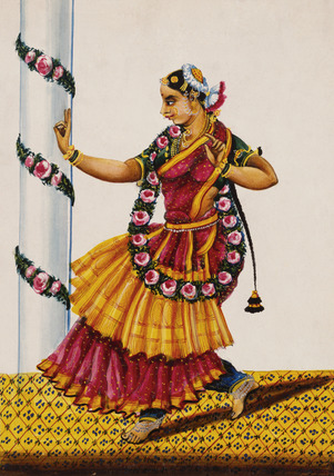 Dancing girl with rose-garland