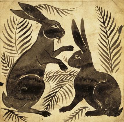 Two Rabbits or Hares, by William de Morgan