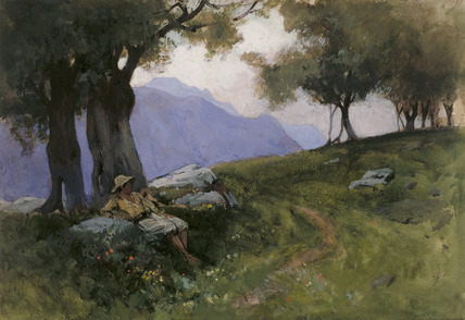 Hillside of Lake Garda, by George Petrie