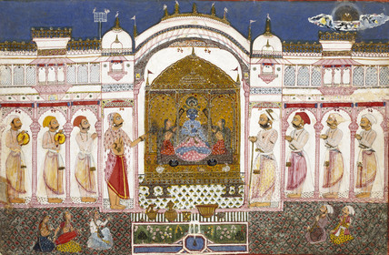 Ruler and his attendants worshipping an image of Krishna