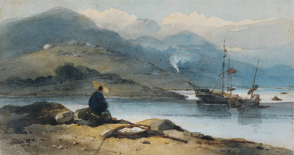 A Chinese River with a Figure on the Bank, by George Chinnery