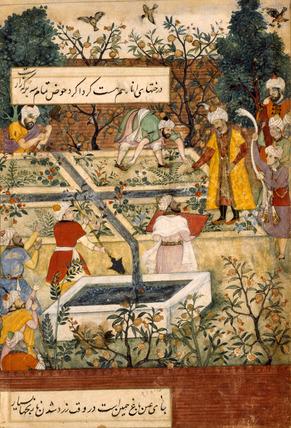 The Emperor Babur overseeing his gardeners in the act of measuring flower beds