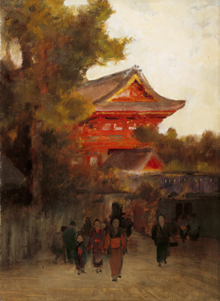 Japanese Scene With Red Temple By Sir Alfred East