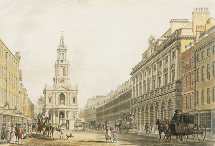 The Strand With Somerset Houseand St Mary's Church, by Thomas Malton