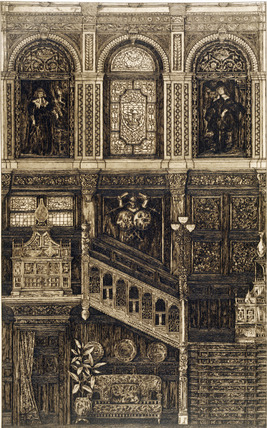 Panelled interior with staircase, by H.W.Batley