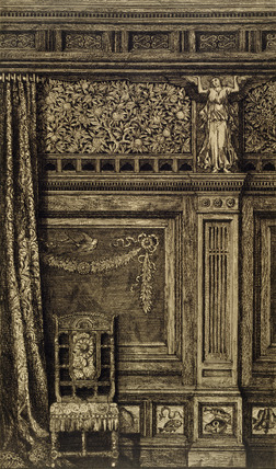 Panelled room with chair, by H.W.Batley