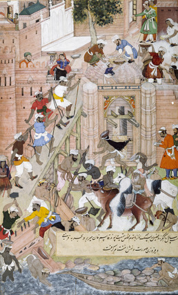 Building the Fort at Agra, by Miskina of Tulsi