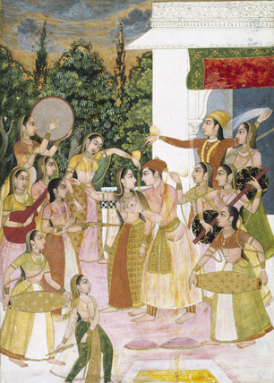 A prince holding a holi festival with his ladies