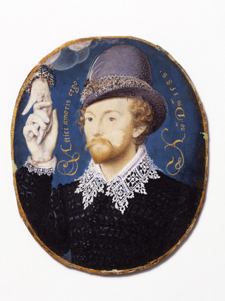 Young Man Clasping a Hand from a Cloud, by Nicholas Hilliard