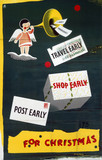 'Travel, Shop & Post Early', Post Office/BR poster, 1948-1960.