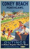 'Coney Beach, Porthcawl', BR poster, 1948-1965.
