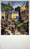 'Market Day', BR (NER) poster, c 1950s.