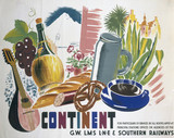 'The Continent', GWR/LMS/LNER/SR poster, 1935.