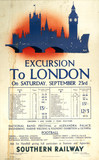 Excursion to London, Southern Railway poster, 1939.