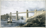 The Britannia Tubular Bridge from the Caernarvon Shore, Wales, 1850s.