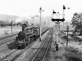 Steam locomotive with the northbound 'Waverley Expres', near Keighley, 1962.