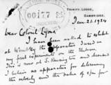Letter from Sir Joseph J Thomson, English physicist , 1924.