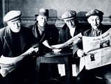 Miners on strike, Harworth colliery, Nottinghamshire, 1937.