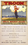 'Troon - Ideal Holiday Resort', MR/G&SWR poster, c 1920.
