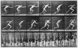 Near-naked man running, c 1870s.