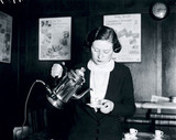 Using a new electric coffee percolator, 2 December 1932.
