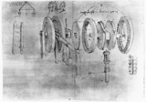 Illustration of a Hygrometer from Leonardo da Vinci's notebooks, c 1500.