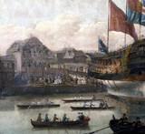 'Launch at Deptford Dockyard', c 1750.