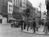 New traffic signals in operation, Oxford Street, London, 5 July 1931.