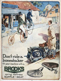 Display card advertising Brooks motorcycle seats, c 1926.