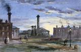 Gasworks at sunset, c 1850.