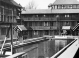 Flats and bathing pool, Tudor Court, Brixton Hill, London, 9 May 1935.
