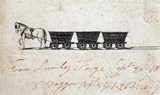 A horse drawing three small wagons, 1827-1828.