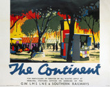 'The Continent', GWR/LMS/LNER/SR poster, 1923-1947.