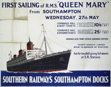 'First Sailing of RMS 'Queen Mary' , SR poster, 1936.