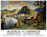 'Austria via Harwich' - Salzburg, LNER poster, 1923-1947.