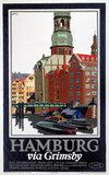 'Hamburg via Grimsby', LNER poster, c 1927.