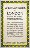 Cheap Day Tickets to London are now isued from this station', 1939.