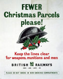 'Fewer Christmans Parcels Please!', GWR/LMS/LNER/SR poster, 1939-1945.