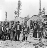 Inhabitants of the Tlingit village of Tongas, Alaska, c 1868.